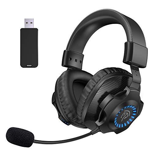 Auriculares Gaming Inalámbricos PS5 PS4, [Regalos de Padre] EasySMX 2.4G Cascos Gaming Inalámbrico Estéreo con Micrófono, Control de Volumen y RGB Luz Para PC, MAC, PS5 y PS4, Headset Gaming Wireless