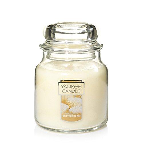 YANKEE CANDLE Duftkerze im Glas, Duft: Caramel Apple Cake Buttercreme Medium Jar beige
