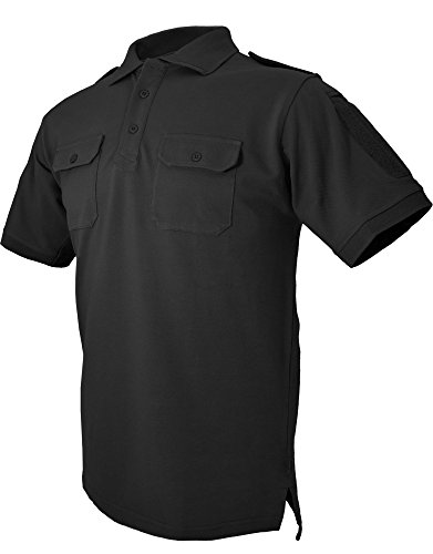 HAZARD 4 Quickdry Leo Battle Polo(TM) Tactical Velcro-Arm-Patch/Chest Pockets Breathable Shirt (R) - Black (Small)