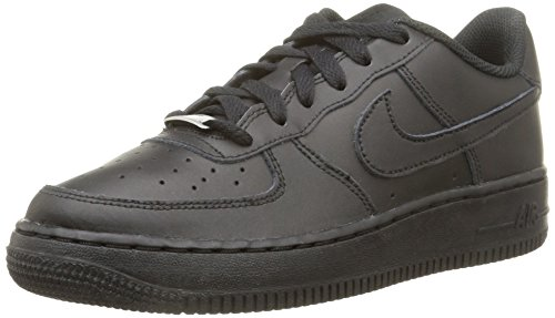Nike Unisex-Kinder AIR FORCE 1 (GS) Low-Top, Schwarz (009 BLACK/BLACK-BLACK), 38.5 EU
