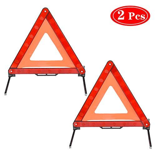 HENTEK Triangolo Auto, Triangolo di Sicurezza Emergenza CEE, Confezione da 2, Triangolo Riflettente di Avviso Pieghevole