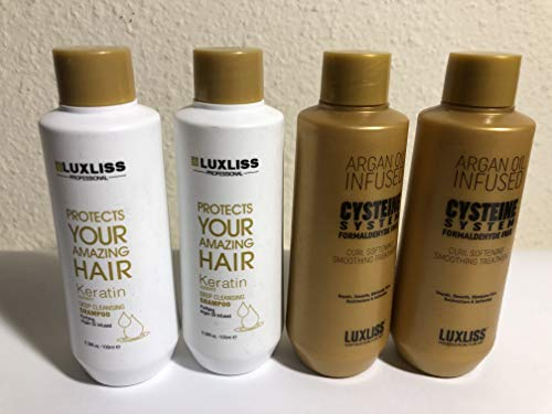 LUXLISS Cysteine System Curl Softening Smoothing Treatment 4PCS(2 CS 100ML+2 KT 100ML) Formaldehyde Free 100% Safe