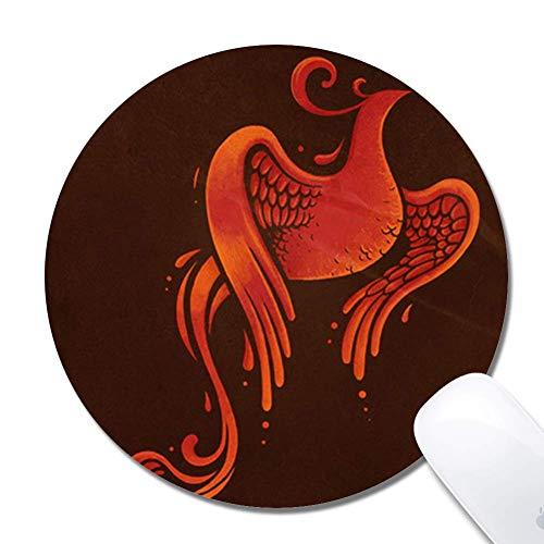 N\A Alfombrilla de ratón ergonómica extendida Phoenix Fire para Juegos, Alfombrilla de ratón Redonda de 200x3 mm Alfombrilla de ratón Redonda de Goma de diseño Personalizado de 200x3 mm-Phoenix Fire