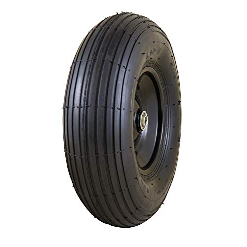 Marathon Easy Fit 13' Replacement Wheelbarrow Wheel with Adapter Kit, Black