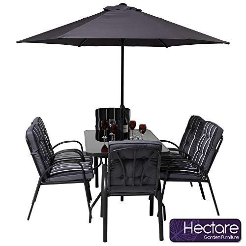 HECTARE Hadleigh 6 Seater Garden Patio Dining Furniture Set (Grey)