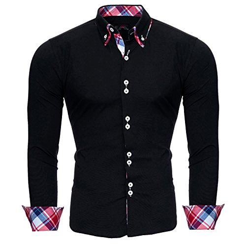 Reslad Herren Hemd Slim Fit Bügelleicht Ideal für Anzug, Business, Hochzeit   Freizeithemd Langarm Männer-Hemden RS-7015 Schwarz XL