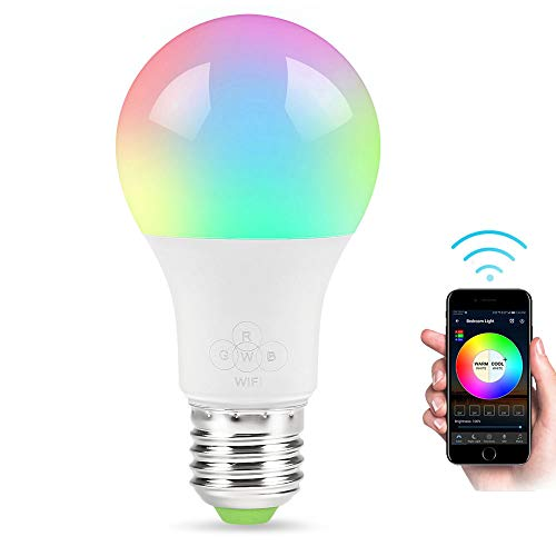 GULEHAY Bombilla LED de WiFi inteligente, multicolor, regulable, contr