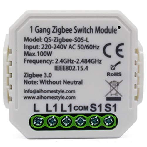 Kuinayouyi MóDulo de Interruptor Inteligente Tuya Zigbee 3.0 No Neutro Eu 220V Interruptor de Luz InaláMbrico de 1 VíA Compatible con Alexa Home