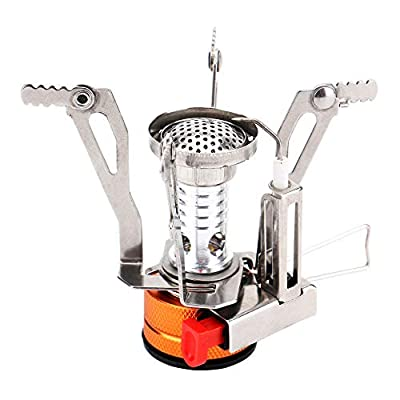 REEHUT Ultralight Portable Camping Stoves Backpacking Stove with Piezo Ignition Adjustable Valve Stainless Steel Material for Backpacking, Hiking, Riding, Mountaineering, Camping