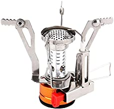 REEHUT Ultralight Portable Camping Stoves Backpacking Stove with Piezo Ignition Adjustable Valve Stainless Steel Material for Backpacking, Hiking, Riding, Mountaineering, Camping - Orange, 1 Pack