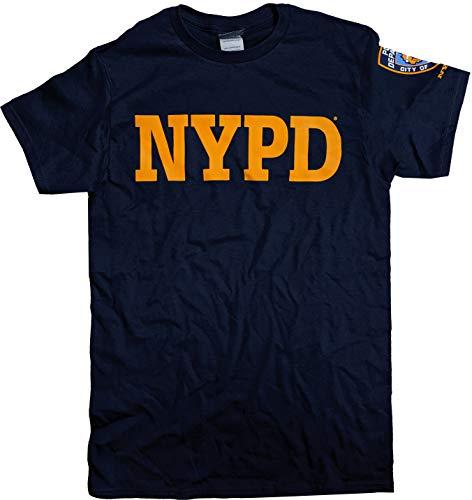 NYC FACTORY NYPD T-Shirt, kurzärmelig, Gelb bedruckt, mit Ärmelabzeichen, Marineblau Gr. M, navy