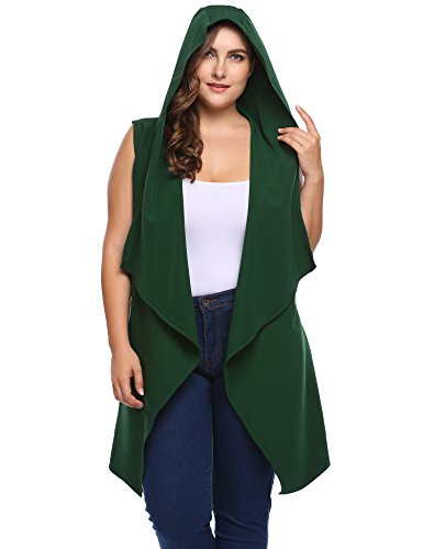 zeagoo Women's Plus Size Fashion Hooded Sleeveless Belted Asymetric Hem Open Front Long Cardigan Cover Up Vest Coat