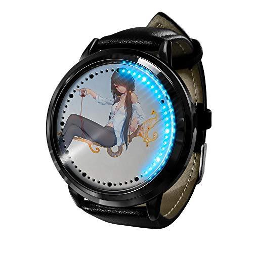 Nuevo Anime Dating War Watch Reloj Casual de Cuarzo de Acero Inoxidable para Mujer Reloj para niños-E