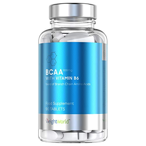 BCAA Sports Tablets - 1000mg - Amino Acid Workout Nutrition Supplement for Men & Women, Muscle Health, Size, Power & Strength, High Protein, Take with Water, Balance Hormones - 90 Pills