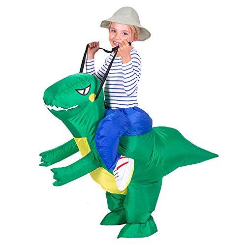 Mambain Costume Carnevale Bambino,Costume Gonfiabile Dinosauro Bambino,Costumi Gonfiabile Dinosauro Bambino di Festa Halloween Natale Bar Parco Supermercato Cosplay Travestimento (120-150cm, Verde)