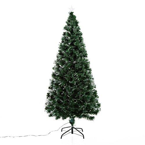 homcom Albero di Natale Artificiale 180cm in PVC Fibre Ottiche Foltissimo con 230 Fibre ottiche Φ84 Verde