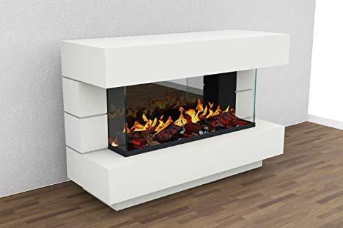 Muenkel design London 1400 Opti-glo - Chimenea eléctrica Opti-myst: color a elegir según RAL, sin calefacción, con piedras negras