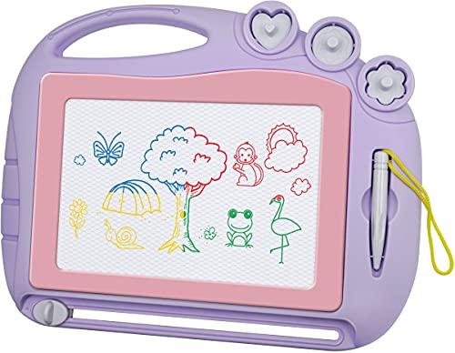 Zaubertafel Maltafel Magnettafel Reisegröße,Magnetische Zaubertafeln Kinder Bunt Zeichenbrett Pädagogische Magnettafel Spielzeug-Geschenk mit 3 Magnetische Stempel für Kinder 3 4 5 Geschenke(Lila)
