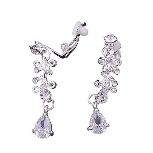 EliteMill Pendientes colgantes de flores para mujer, de lujo, hermosa joyería de imitación brillante, aguja de aleación de microincrustaciones AAA Zircon para fiestas, bodas, compromisos y bailes
