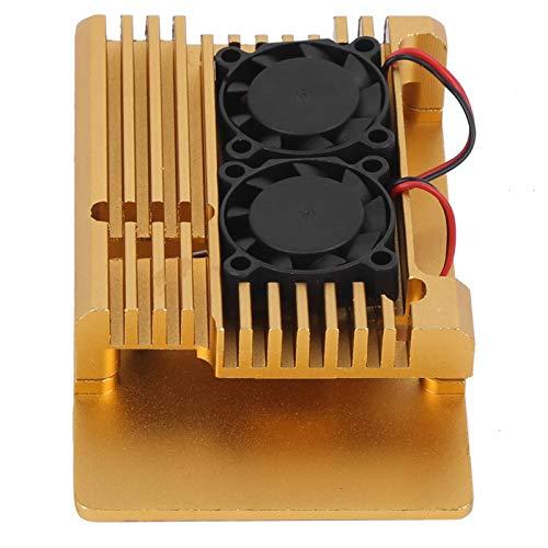 Jeanoko Caja Firme Caja de protección de Accesorios Caja de Armadura con Doble Ventilador de refrigeración Tamaño Mini Estable para Raspberry Pi 3 Modelo 2B / 3B