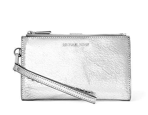 MICHAEL Michael Kors Adele Crackled Metallic Leather Double Zip Wristlet Wallet - Silver