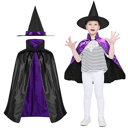 LYTIVAGEN Brujas Cape y Sombrero Disfraz Bruja para Niños Capa y Sombrero de Bruja para Halloween, Navidad, Fiesta de Cosplay, Fiesta de Disfraces (Púrpura/Negro)