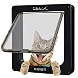 CEESC Cat Flap Door Magnetic Pet Screen Door With 4 Way Lock for Puppies and Small Dogs, 3 Sizes and 2 Colors Options (M: 7.56