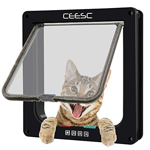 CEESC Cat Flap Door Magnetic Pet Door with 4 Way Lock for Cats, Kitties and Kittens, 3 Sizes and 2 Colors Options (M- Inner Size: 2.17'(D) x 6.18'(W) x 6.30'(H), Black)