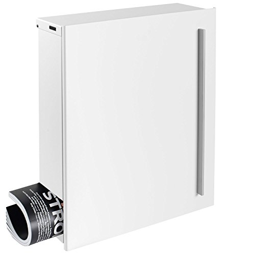 MOCAVI Box 110 Design-Briefkasten mit Zeitungsfach signal-weiß (RAL 9003) Wandbriefkasten Postkasten groß mit Schloss