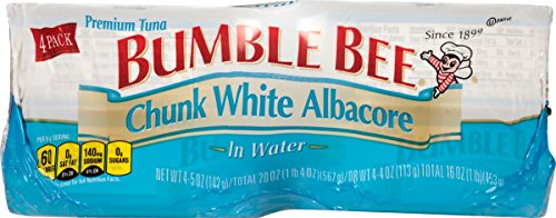 BUMBLE BEE Chunk White Albacore Tuna in Water, 5 Ounce Can (Pack of 4), Wild Caught, Canned Tuna, High Protein, Keto Food, Keto Snack, Gluten Free, Paleo Food, Canned Food