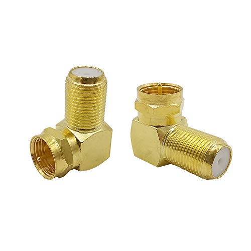90 Degree Coaxial Cable Connectors F-type Male To Female Right Angle Coax Tv Connector Adapter for Wall Mounted TVs,Wall Plates, Cabinets (Gold/A)