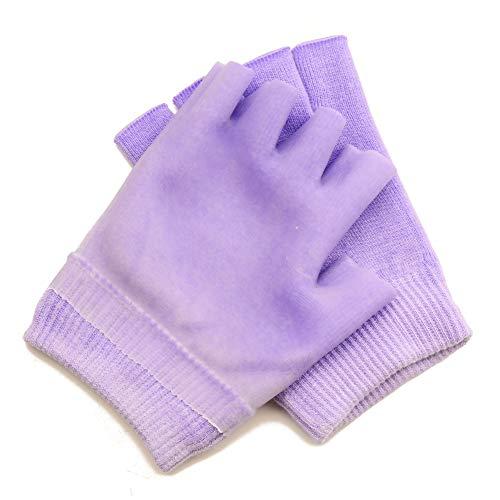 Makhry 1 paar Halve Vinger SPA Hydraterend Handschoenen Hydraterend Gel Handschoenen Gellijn met Essentiële Oliën en Vitamine E voor de Droge Huid (Paars)
