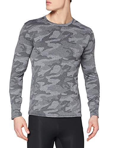 Marca Amazon - find. Camiseta Deporte Camo Hombre, Negro (Black), L, Label: L