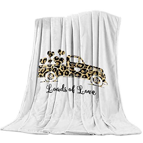 Mantas Para Manta Blanket Camión vintage con tema de San Valentín con textura de leopardo Mantas 125X100CM