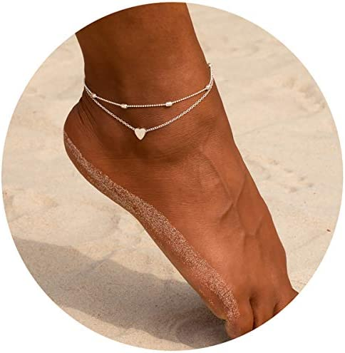 EFLY Silver Plated Layered Satellite Heart Anklet Layering Beads Sphere Boho Ankle Bracelet product image
