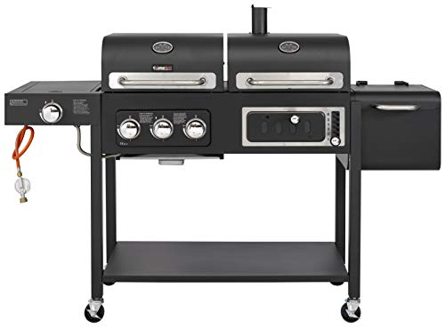 CosmoGrill Barbecue DUO Gas Grill + Charcoal Smoker Portable BBQ (Black)