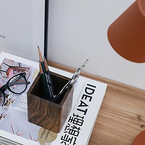 litulituhallo Pennhållare pennhållare skrivbord kontorsmaterial borstar förvaring svartbrun trä 7,5 x 7,5 x 9,5 cm