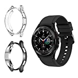 Rosok [2 Piezas] Funda Compatible con Samsung Galaxy Watch 4 Classic 46mm, [Anti-Rasguños] TPU Resistente a los Golpes Shell, Protector de Caso para Galaxy Watch 4 Classic 46mm - Negro & Transparente
