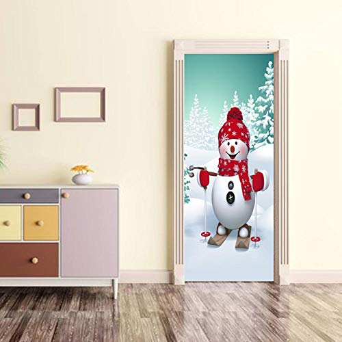 BXZGDJY 3D Deur Plakken Mural Zelfklevende Behang Poster Film - Snowboard Snowman 2 Stuks/Set van DIY Sticker Woonkamer Slaapkamer Children's Restaurant Office Bar Deur Art Decoratie 88x200cm