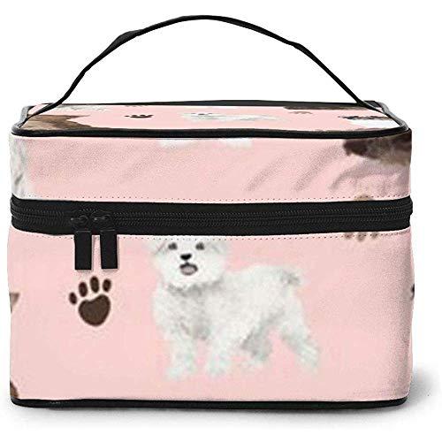 Dog Tracks, Sweet Dog Portable Ladies Travel Cosmetic Case Bag Storage Makeup Pouch Multi-Function Wash Large Capacity Makeup Bag