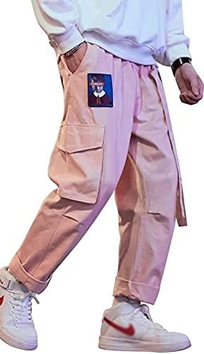 Pantalones deportivos Punk Cargo Baggy Techwear Hip Hop Harem Streetwear tácticos para hombre, Rosa/Rebel Fun., X-Large