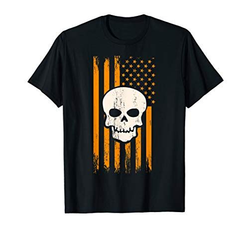 Scary Skull & Orange USA American Flag – Halloween Themed T-Shirt