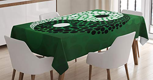 ABAKUHAUS Ying Yang Nappe, Ying Yang Vert Harmony, Linge de Table Rectangulaire pour Salle à Manger Décor de Cuisine, 140 cm x 170 cm, Noir, Vert, Blanc