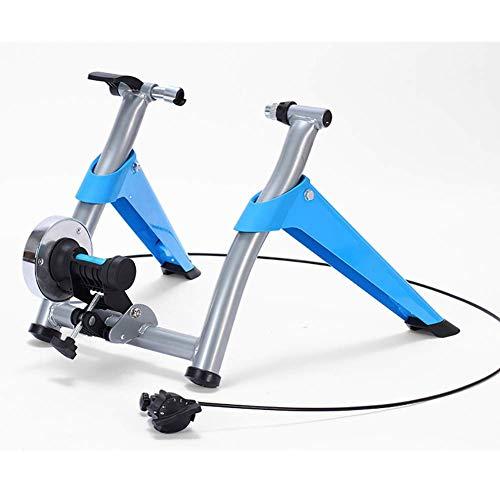 TGSC Magnetic Bike Trainer Stand W 6 Geschwindigkeitsstufe Drahtsteuerung Einsteller Geräuschreduzierung Rad Steigrohr Widerstand Faltbarer Fahrrad-Übungsständer Blau