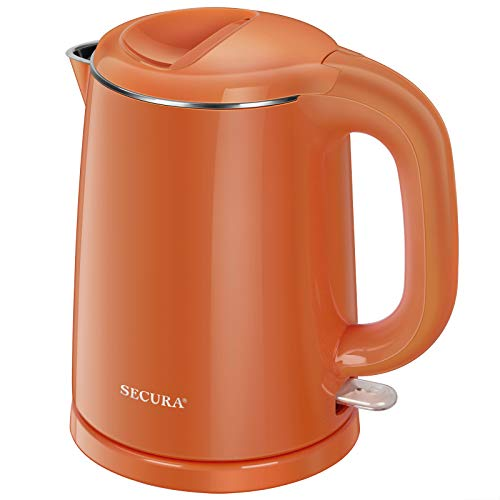 Secura Stainless Steel Double Wall Electric Kettle Water Heater for Tea Coffee w/Auto Shut-Off and Boil-Dry Protection, 1.0L (Orange) (SWK-1001DO)