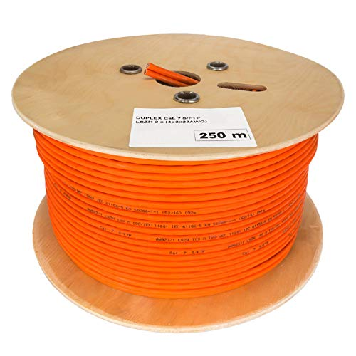 HB Digital Netzwerkkabel LAN Duplex Verlegekabel Cabel 250m cat 7 600MHz Kupfer Profi S/FTP PIMF LSZH Halogenfrei orange RoHS-Compliant cat. 7 Cat7 AWG 23/1 (2 verbundene Strängen)