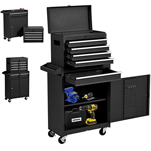 Big Rolling Tool Chest, Tool Chest with Drawers and Wheels Tool Cabinet Tool Storage Removable,Rolling Tool box with Lockable Drawers, Toolbox for Mechanics Garage Workshop (Black.)