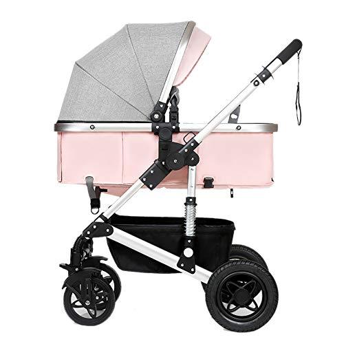 Poussettes JCOCO Bébé, Pliant Léger Amortisseur Enfants Pousser Chariots De Bébé Infantile Chariot en Acier Au Carbone Cadre (Couleur : Pink)