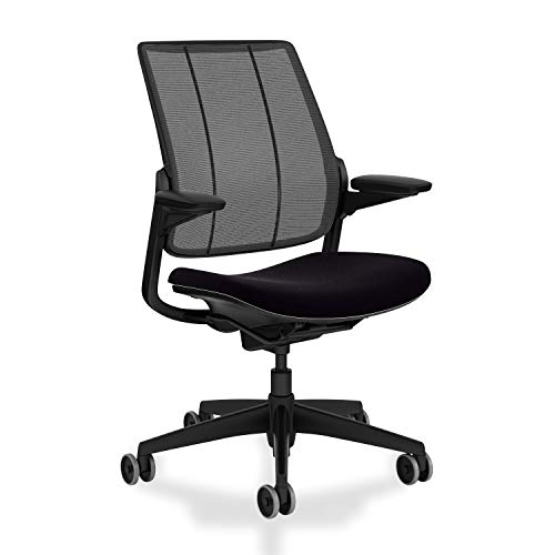 Humanscale Diffrient Smart Chair | Monofilament Black Mesh Back and Corde 4 Black Seat | Black Frame with Black Trim | Height-Adjustable Duron Arms | Standard Foam Seat, 3' Carpet Casters, 5' Cylinder