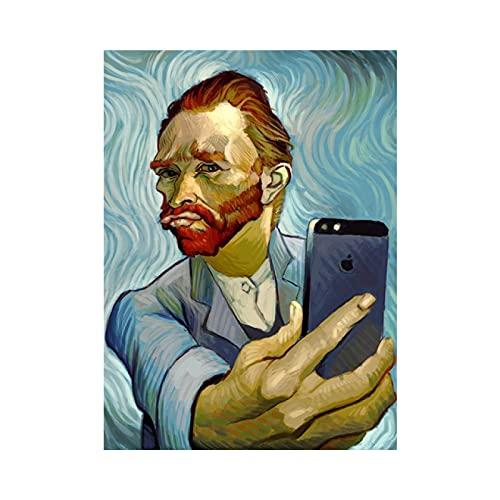 TTMMMKP Impresiones en Lienzo Arte Divertido Van Gogh Selfie por teléfono Arte de la Pared Retrato Abstracto de Carteles e Impresiones de Van Gogh para decoración del hogar 60x90CM